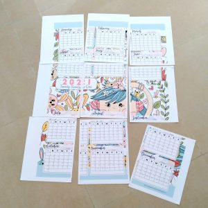 2021 Printable Kawaii Calendar Poster | E066