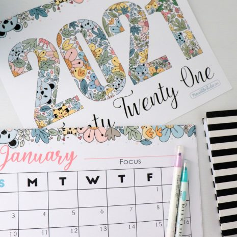 2021 Printable Calendar Monthly View | Desk Planner by Mariapalito for Partymazing