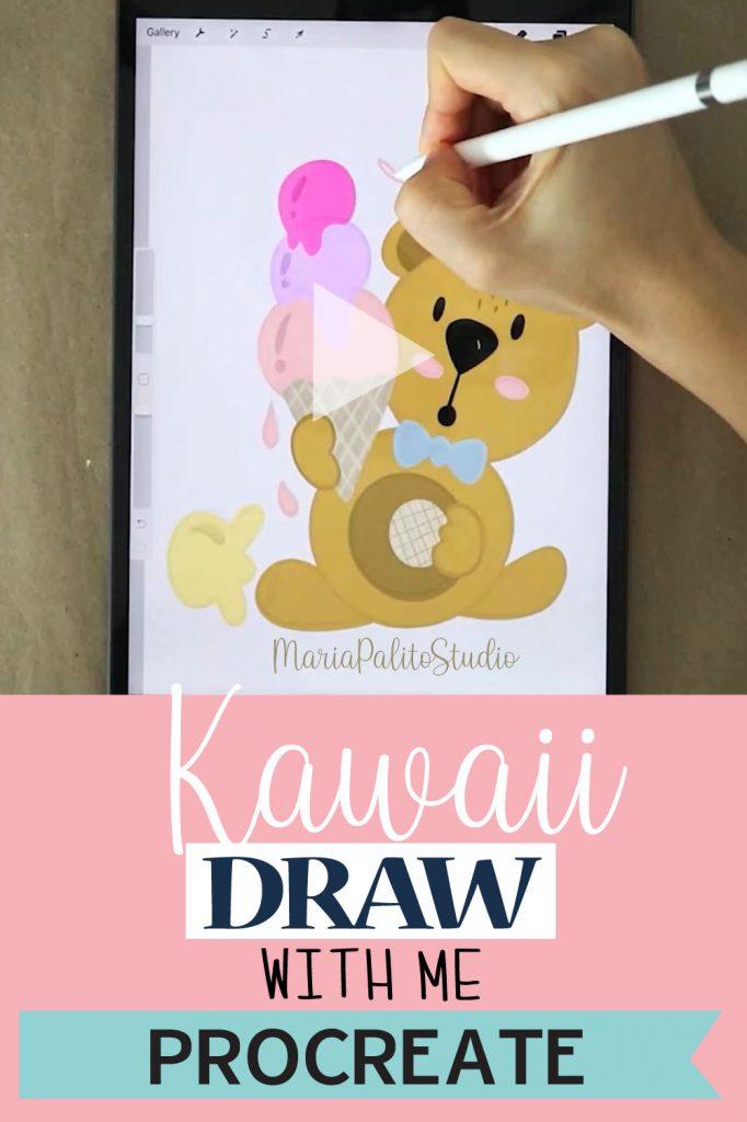 Digital Illustration: Draw with me a Cute Bear.  #Digitaldrawing #digitalillustration #digitalpainting