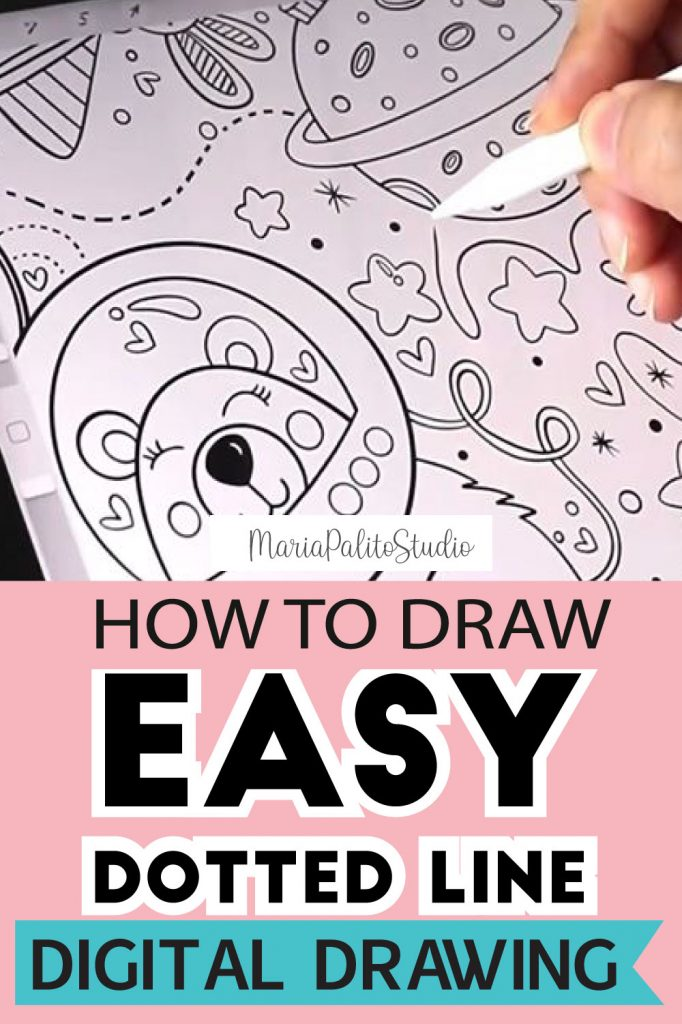Digital Drawing: How to Draw a Dotted Line Digital Drawing using a regular Brush. You don't need a fancy brush to create a dotted line. #Digitalcoloring #digitalillustration #digitalpainting