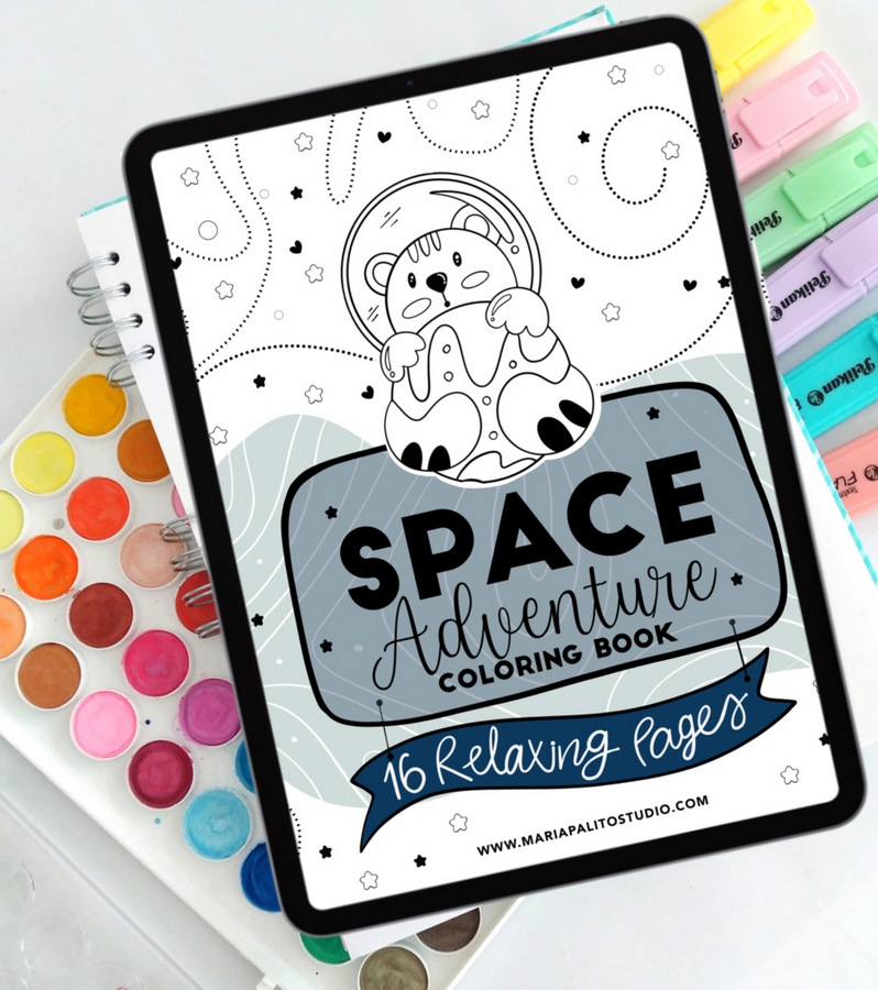 Instant Download Poster: Adventures in Space Digital File to Print Illustration for Children and Adults