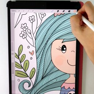 Whimsical Girl Digital Coloring Page E540
