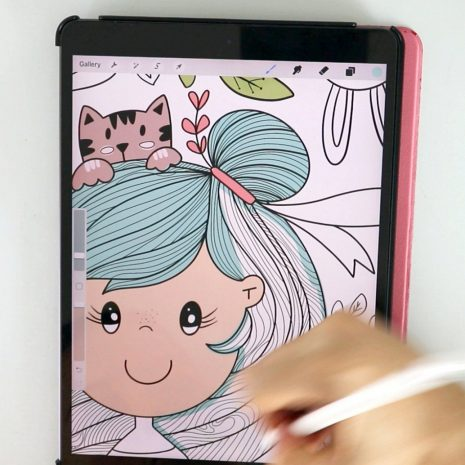 Whimsical Digital Coloring Page   Procreate or Ipad Coloring Sheet    Adult Coloring to Calm and relieve Anxiety E540