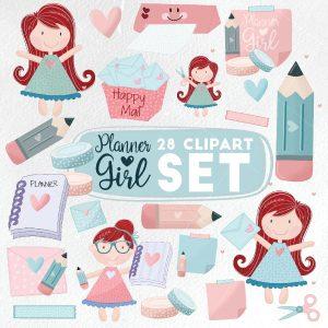 28 Kawaii Planner Girl Clipart Set  E559