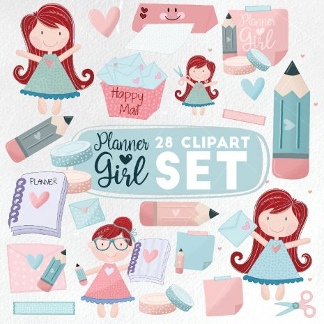 28 Kawaii Planner Girl Clipart Set   Craft Party   Scrapbooking Small Business Set   Chibi Girl Graphics E559