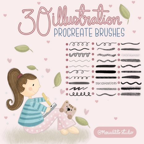 30 Drawing and Texture Procreate Brush Set and How to Guide | Ipad Digital Illustration Tool Set for Children Illustration | E557