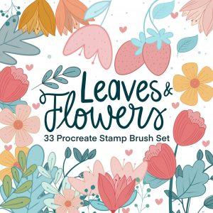 Flower and Leaves Procreate Stamp Brush Set | 33 Procreate Digital Drawing Floral Stamp iPad Tool | Digital Illustration Resource E560
