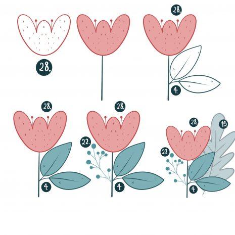 Flower and Leaves Procreate Stamp Brush Set   33 Procreate Digital Drawing Floral Stamp iPad Tool   Digital Illustration Resource E560